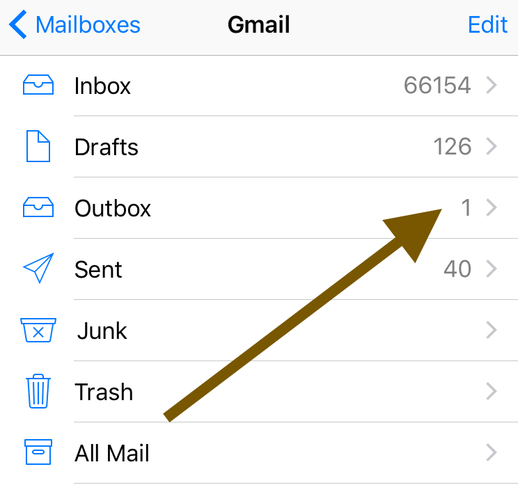 email stuck in outbox gmail