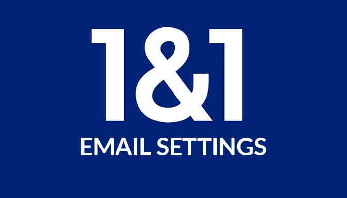 1-and-1 email settings